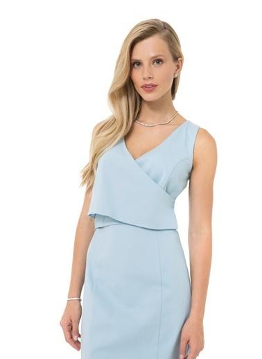 Accouchée Kolay Emzirme Özellikli Şık Elbise Mavi